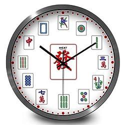 Creative Mahjong Home Furnishing DecorationQuartz Clock,30cm,Black