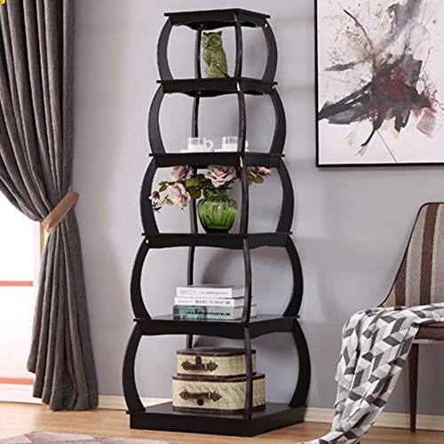 Mixcept 66 Multi-Purpose Shelves 5 Tier Bookshelf Bookcases Wooden Storage Display Shelf Standing Shelving Unit Collection Shelf, Black