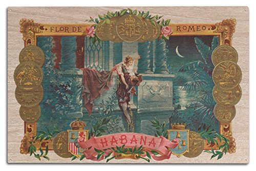 Lantern Press Flor de Romeo Brand Cigar - Famous Romeo and Juliet Balcony Scene - Vintage Label (10x15 Wood Wall Sign, Wall Decor Ready to Hang)