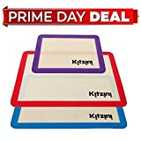 : Silicone Baking Mat Set of 3 - Two Half and One Quarter Non Stick Sheet Mats - Large BPA Free Professional Grade Liner Sheets - Perfect Bakeware for Making, Cookie, Macarons, Bread and Pastry
