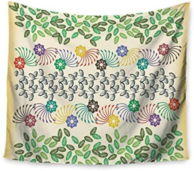 Kess InHouse Famenxt Flowers /& Leaves Pattern Abstract Geometric Wall Tapestry 51 X 60
