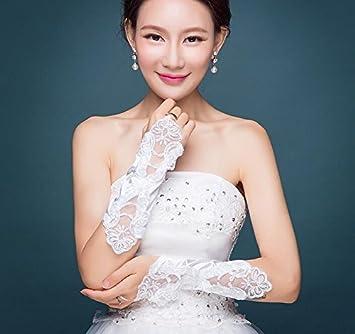 Wolegequ Guantes de encaje de la boda nupcial,guantes,con cuentas,perlas,