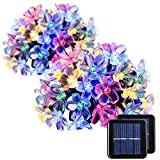 GIGALUMI 2 Pack Solar Strings Lights, 23 Feet 50 LED Flower Solar Fairy Lights, Garden Lights for Outdoor, Home, Lawn, Wedding, Patio, Party and Holiday Decorations- Multi Color