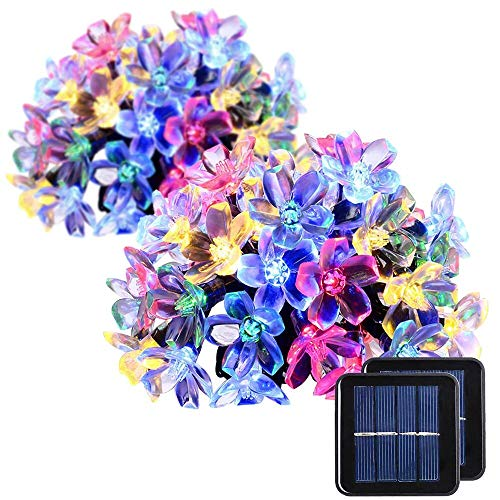 2 Pack Solar Strings Lights, GIGALUMI 23 Feet 50 LED Flower Solar Fairy Lights, Garden Lights for Outdoor, Home, Lawn, Wedding, Patio, Party and Holiday Decorations- Multi Color