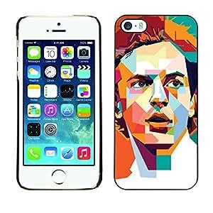 LECELL--Funda protectora / Cubierta / Piel For Apple iPhone 5 / 5S -- Polygon Orange Teal Redhead Retro --