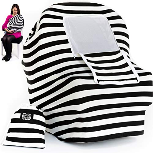 Nursing Cover Carseat Canopy | 5-in-1 Car Seat Covers for Babies, Stretchy Baby Car Seat Cover, Infant Stroller, Carseat Cover for Boys & Girls, Breastfeeding Cover Ups - Black & White by LittleGiggle