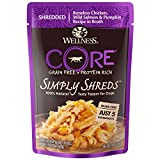Wellness CORE Simply Shreds Natural Grain Free Wet Dog Food Mixer or Topper, Chicken, Wild Salmon & Pumpkin, 2.8-Ounce Pouch(Pack of 12)