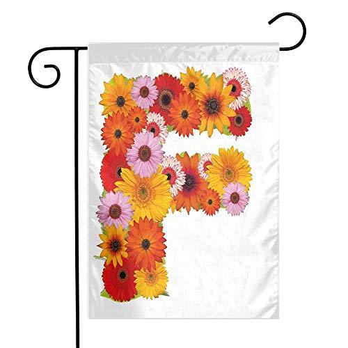 Mannwarehouse Letter F Garden Flag Romance Theme with Flowers Capital F in Ornamental Classic Petals Bouquet Print Premium Material W12 x L18 Multicolor
