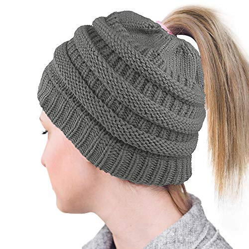 Lvaiz Womens Ponytail Beanie Tail Crochet Knitted Messy Bun Knit Hat Stretch Cable Chunky Bun Hat ()