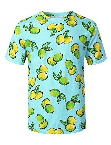(URBANCREWS Mens Hipster Hip Hop Lemons Graphic Print T-Shirt Blue Large)
