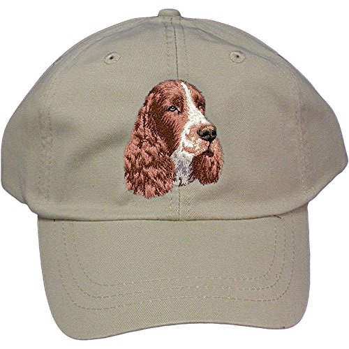 Cherrybrook Dog Breed Embroidered Adams Cotton Twill Caps - Stone - English Springer Spaniel (Embroidered Hat Spaniel)