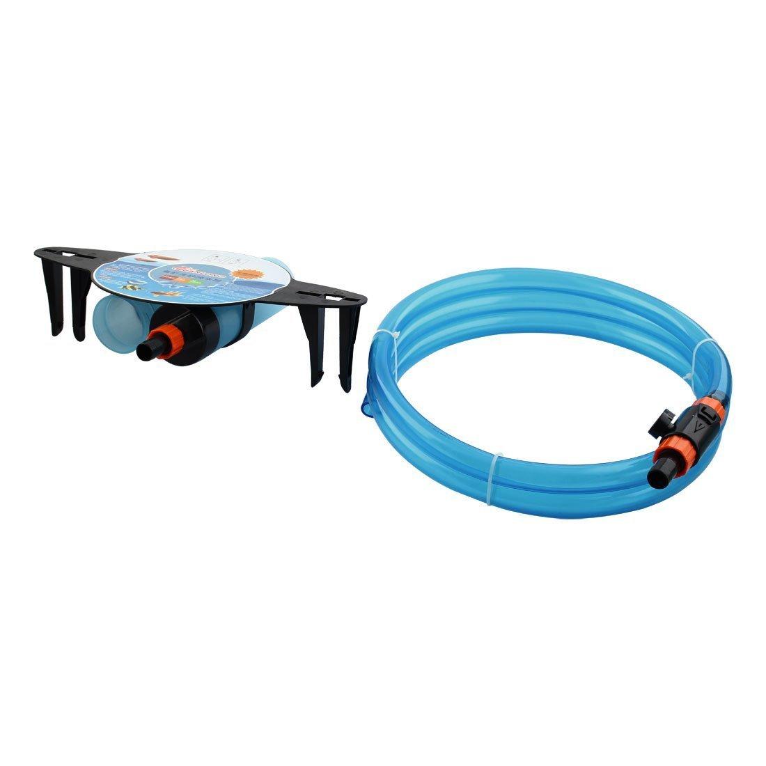 1Pc Plastic Aquarium Fish Tank Water Changer Sand Washer Gravel Vacuum Cleaner Light bluee w Control Valve