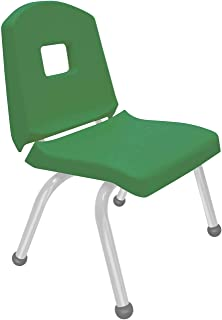 "product image for Creative Colors 1-Pack 12"" Kids Preschool Stackable Split Bucket Chair in Dustin Green with Platinum Silver Frame and Ball Glide"