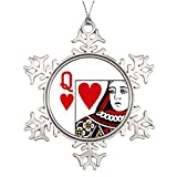 Metal Ornaments Queen Of Hearts Playing Card Personalised Christmas Tree Decoration Big Snowflake Ornaments