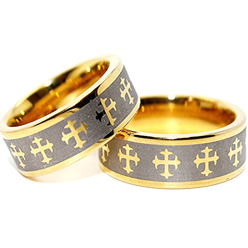 Matching 8mm Golden Colored Tungsten Carbide Gothic Crosses Wedding Band (See listing for sizes) by Blue Chip Unlimited