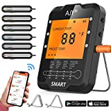 remote bbq thermometer iphone - BBQ Meat Grill Thermometer,AJY Smart Bluetooth Wireless Remote Digital Cooking Food Meat Thermometer with 6 Probe for Smoker Grill BBQ Thermometer support ios & Android, 328Feet.
