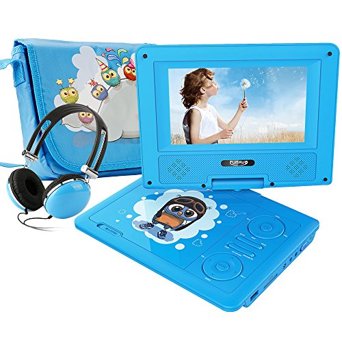 """FUNAVO 7.5"""" Portable DVD Player with Headphone, Carring Case, Swivel Screen, 5 Hours Rechargeable Battery, SD Card Slot and USB Port (Blue)"""