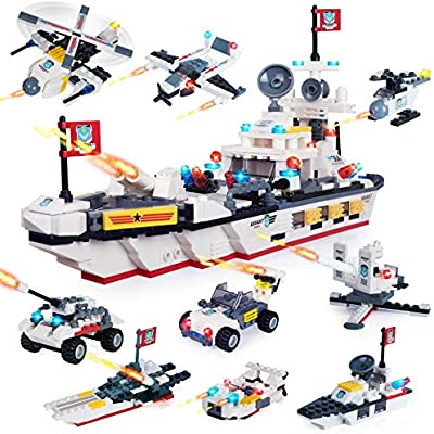 Military Army Battlefield Headquarters Plane Car Attack Building Blocks Toy1714