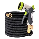 50ft Garden Hose, TOONOON All New Expandable Water Hose Set with Double Latex Core,3/4 Solid Brass Fittings, Extra Strength Fabric, Flexible Expanding Hose with 8 Function Spray Nozzles, Free Carrying