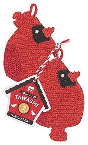 Now Designs 2012012 Tawashi Dish Scrubbers, Set of Two, Cardinals, 2 Piece - Homemade Crochet