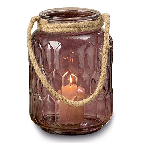 WHW Whole House Worlds Mariners Roped Hurricane Candle Lantern, Vintage Style, Pressed Plum Glass, Jelly Jar Shape, Jute Handle, 7 Inches Diameter, 9 3/4 Inches Tall (Jar Candle Hurricane)