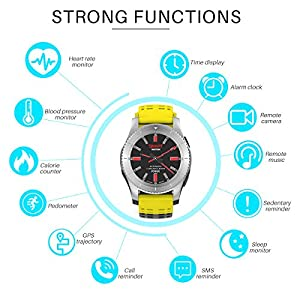 ALLOMN GS8 Smart Watch Fitness Activity Tracker Bluetooth 4.0 IPS Touch Screen with Blood Pressure Heart Rate Monitor GPS Movement Tracking Support SIM Card for IOS Android Smartphone (Yellow)