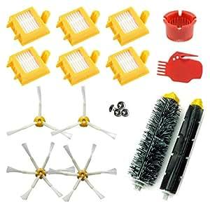 ASP-ROBOT® Recambios Roomba Serie 700 760 765 770 772 775 776 776p 780 782 785 786. Filtro hepa, Cepillo Lateral, Rodillo Central y Accesorios. Pack repuestos. Kit Recambio