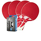 Cornilleau Tacteo 50 Weatherproof 4 Player Table Tennis Racket & Ball Set - Red/White