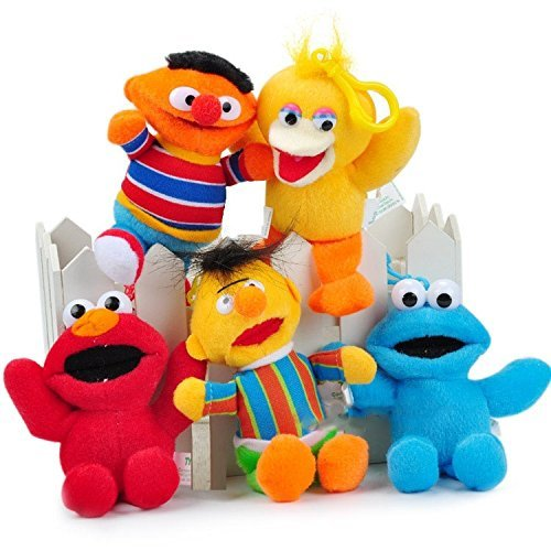 Sesame Street Elmo Cookie Bird Ernie Bert Set of 5 pcs Soft Plush Figure Toy Anime Stuffed Animal 6 Inch Child Gift (Sesame Street Stuffed Animals)
