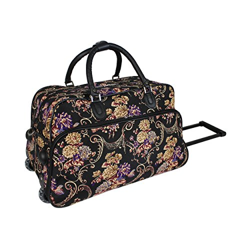 World Traveler 21-Inch Carry-On Rolling Duffel Bag, Classic Floral