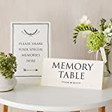 ANGEL & DOVE Funeral 'Memory Table' & 'Please Share Your Special Memories Here' Set of 2 Card Signs - Ideal for Funeral Condolence Book, Memorial, Celebration of Life: more info