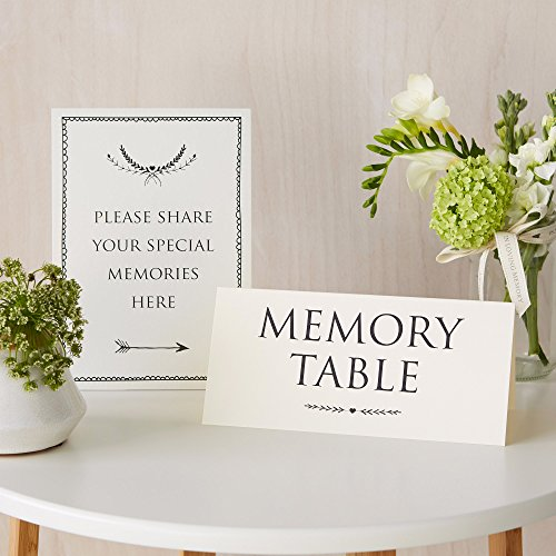 ANGEL & DOVE Funeral 'Memory Table' & 'Please Share Your Special Memories Here' Set of 2 Signs - Ideal for Funeral Condolence Book, Memorial, Celebration of Life by ANGEL & DOVE