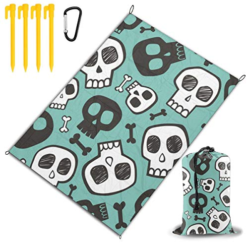 NICHOLAS COATES Skulls and Bones Halloween Picnic Blanket-Beach & Outdoor Mat Water Resistant,Sand Proof-Large,Oversized for Camping Or Travel.Washable,Foldable,Easy Carry Compact Tote Bag]()