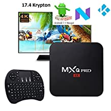 [2018 Version] 17.4 Krypton MXQ PRO Android 7.1 TV BOX 4K/64Bit/ UHD 4K/Full HD/H.265 Player With keyboard