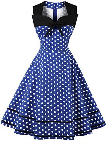 Sherostore ♡ Womens Polka Dot Dresses 50S Style Short Sleeves Rockabilly Vintage Dress Cocktail Party Swing Dresses