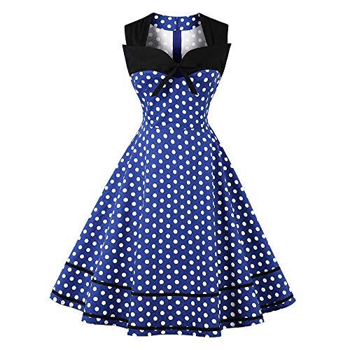(Sherostore ♡ Womens Polka Dot Dresses 50S Style Short Sleeves Rockabilly Vintage Dress Cocktail Party Swing Dresses Blue)