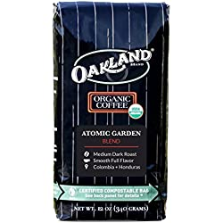 Oakland Coffee Works, Organic, Atomic Garden Blend, Certified Compostable Bag, 12 Ounce, Whole Bean