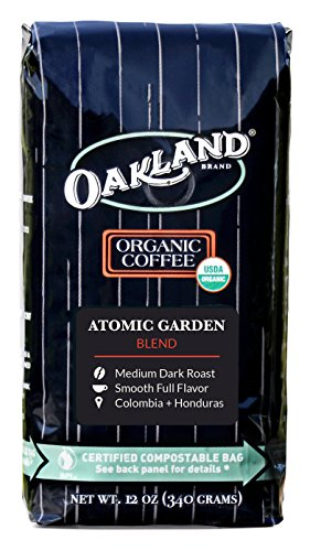 Oakland Coffee Works, Organic, Atomic Garden Blend, Certified Compostable Bag, 12 Ounce, Whole Bean (Coffee Bottle Blue K Cups)