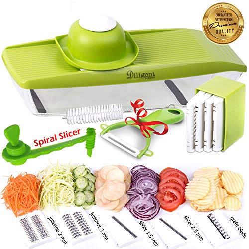 Mandoline Slicer with Vegetable Spiralizer and potatoes Chip Maker - Julienne slicer - Included 4 kitchen tools peller, spiral slicer, leaf remover  and cleaning brush - kitchen mandolin slicer