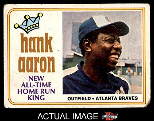 1974 Topps # 1 New All-Time Home Run King Hank Aaron Atlanta Braves (Baseball Card) Dean's Cards 1.5 - FAIR Braves