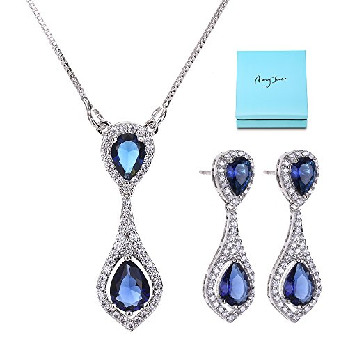 AMYJANE Bridal Crystal Necklace Earrings Set - Sterling Silver Blue Teardrop Bridal Cubic Zirconia Sapphire Jewelry Set for Women Wedding Brides Bridesmaids September Birthstone Jewelry - Blue Bridal Jewelry