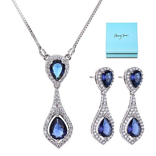 AMYJANE Bridal Crystal Jewelry Set - Elegant Vintage Sterling Silver Blue Teardrop Wedding Cubic Zirconia Sapphire Jewelry Set for Women Brides Bridesmaids September Birthstone Jewelry by AMYJANE (Image #7)