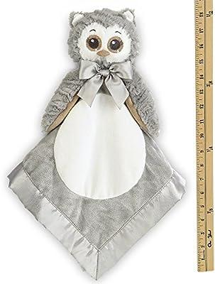 SECURITY BLANKET BEYOND OWL PINK WHITE GRAY SLEEPY EYES VELOUR NO RATTLE SOFT