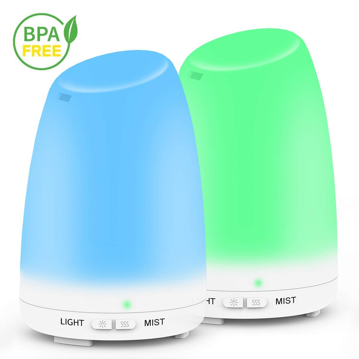 Essential Oil Diffuser, [2 pack ] 120ml Portable Aromatherapy Ultrasonic Aroma Diffuser / Cool Mist Humidifier , Waterless Auto Shut-Off and Mist Mode Adjustment for Bedroom, Nursery , Desk,Home, Office, Yoga Room,or Studio Holan