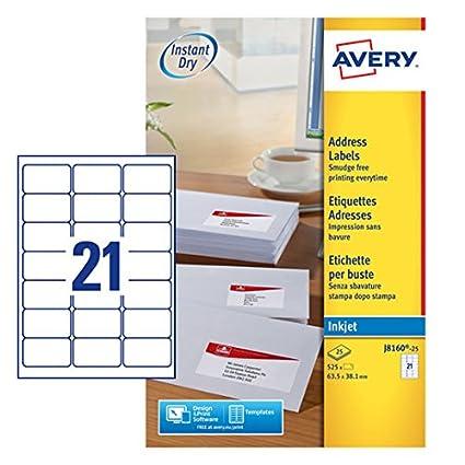 Avery Zweckform J8160 25 Adress Etiketten A4 Papier Matt 525 Stück 635 X 381 Mm 25 Blatt Weiß