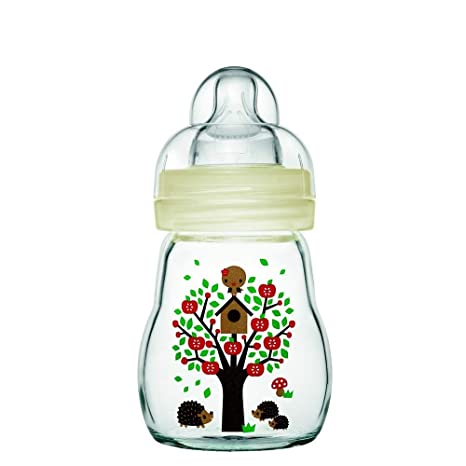 Mam - Botellas de vidrio, 170 ml, 0-6 meses Tipo de flujo 1, color: Blanco