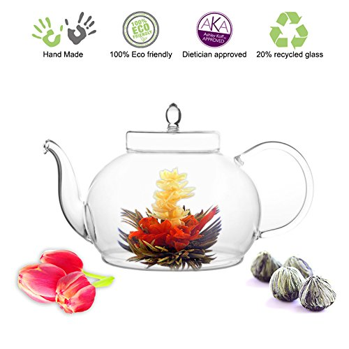 Blooming Tea Glass Teapot Gourmet Gift Set Polo 45oz/1330ml with Fab Flowerin...