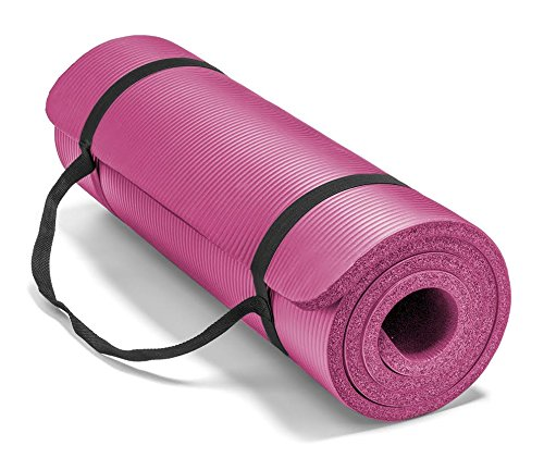 Spoga Premium Extra Thick 71-Inch Long High Density Exercise Yoga Mat with Comfort Foam and Carrying Straps, Pink