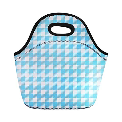 (Semtomn Lunch Tote Bag Abstract Blue Gingham Pattern Checkered Checks Color Diagonal Geometric Reusable Neoprene Insulated Thermal Outdoor Picnic Lunchbox for Men Women )