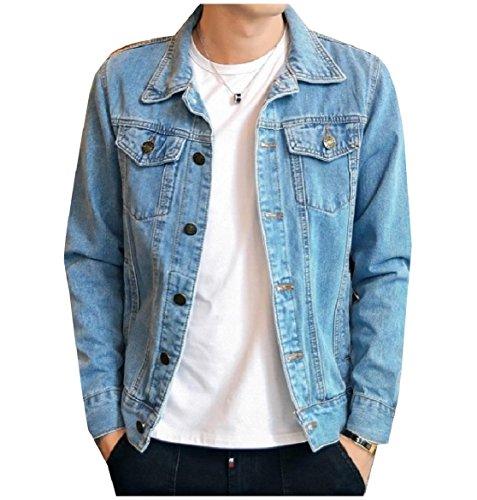 Jean Coat Light Pocket Turn Blue Men Down Slim Collar Fit Front Button Howme 1wRAgxBqc